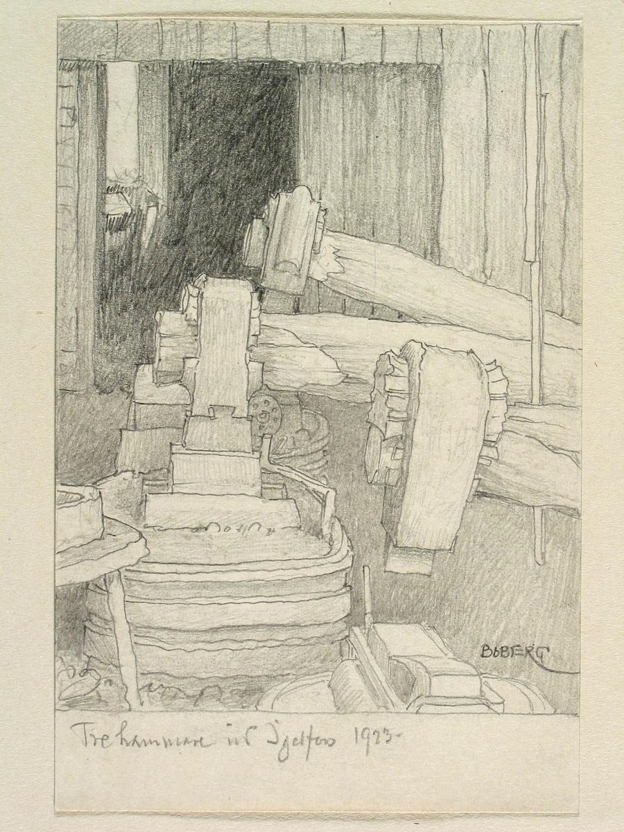 Tre hammare i Igelfors, Östergötland. Teckning av Ferdinand Boberg