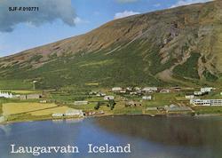 Postkort med flyfotografi fra Laugarvatn på Sørvest-Island,