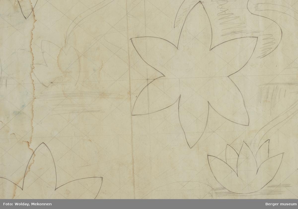 Tulipaner og blader med kryss og prikker Ullteppe Skisse på baksiden av patrontegningen