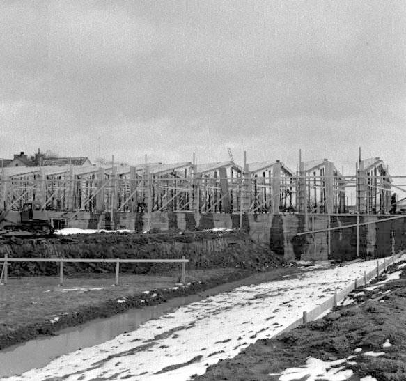 Skara. Idrottshallen bygges 1962-1963.