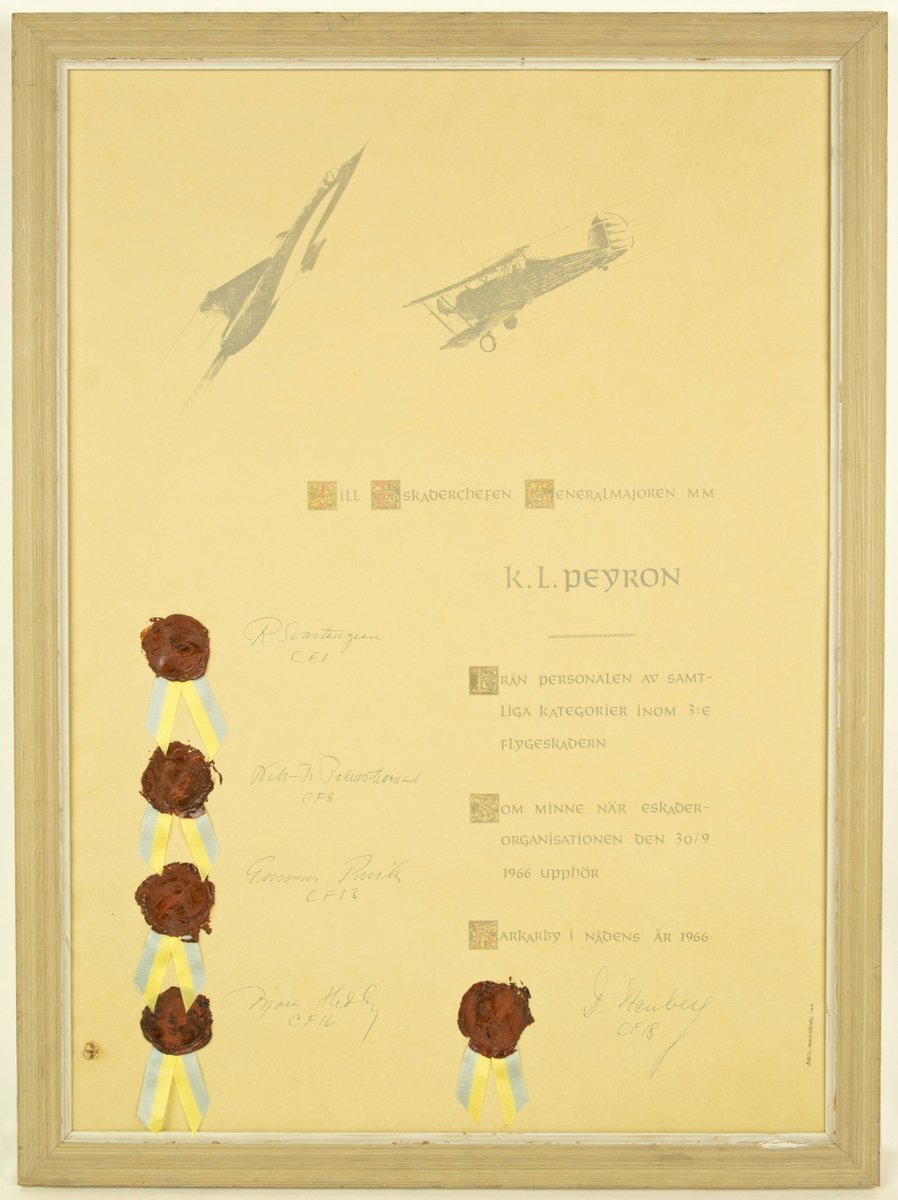 Inramad minnestavla över nedläggningen av eskaderorganisationen Barkaby. Tilldelad generealmajoren K.L Peyron. Tavlan har tryckt text i medeltida snitt med fem signaturer och fem vaxstämplar med insignia från fem flottiljer: F1, F8, F13, F16 och F18. Föremålet har en laserad träram.