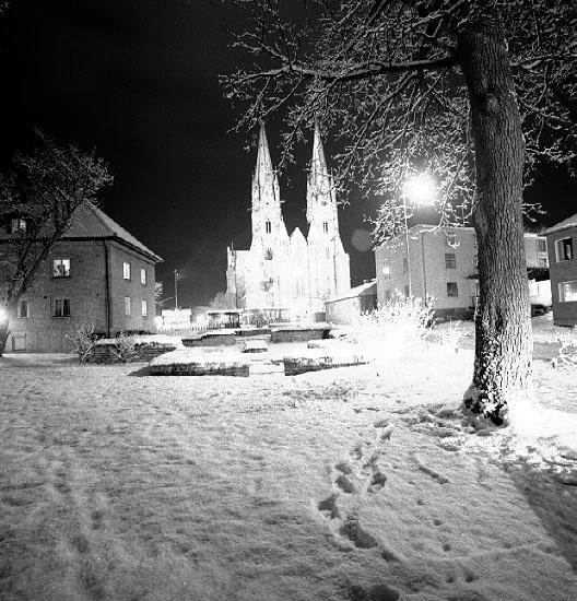 Bildtext: Skara.  Domkyrkan från Kv. Vesta.