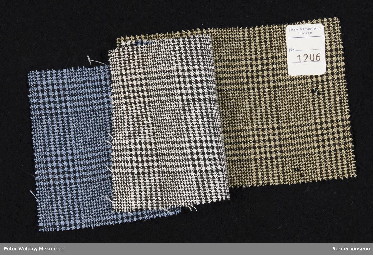 3 prøver heftet sammen Kjole Kvalitet 6010 Stykkfarget