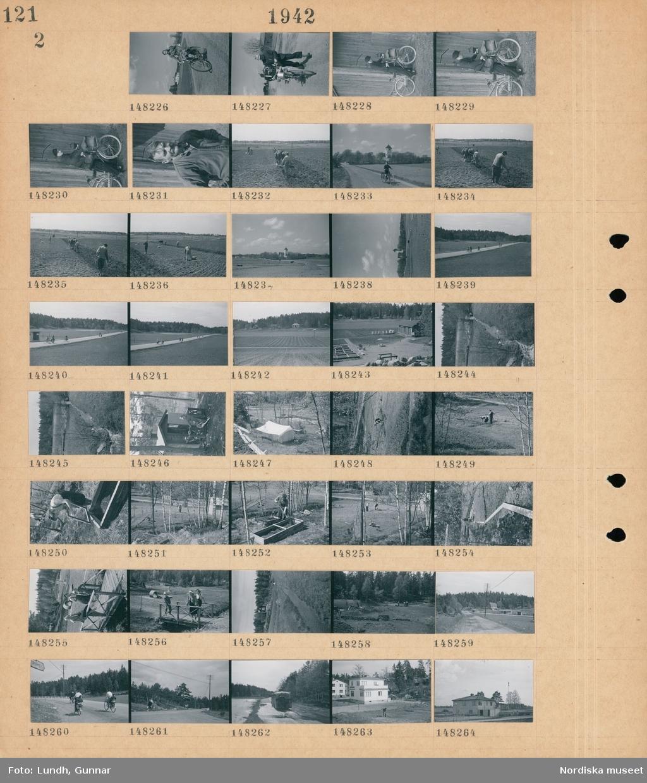 Motiv: (ingen anteckning) ; En kvinna cyklar på en väg, en man leder en cykel, porträtt av en man, en grupp personer sätter potatis på en åker, en hästdragen plog, landskapsvy med åkrar och en kyrka, cyklister på en väg, en odlign med bikupor, en kvinna arbetar med en drivbänk, två kvinnor och en flicka står på en bro, en buss kör på en väg, exteriör av hus.