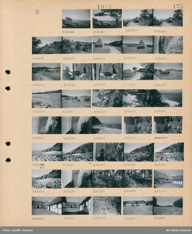 Motiv: (ingen anteckning) ; Landskapsvy med bebyggelse och hav, landskapsvy med väg - bebyggelse och träd, en fågelskrämma, landskapsvy med åkrar och skog, landskapsvy med klippor och hav, en båt uppdragen på stranden, exteriör av ett korsvirkeshus med vasstak.