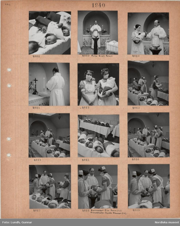 Motiv: Liggande spädbarn på rad med blommor på lakanet, man, pastor Evert Palmer, i kyrklig skrud vid altare och dopfunt, en kvinna i sköterskeuniform håller i ett spädbarn som döps, kvinnor i sköterskeuniform och munskydd med spädbarn som ska döpas, spädbarn ligger på rad, barnmorskan Elsa Paavo och barnsköterskan Kerstin Olausson med barn som döps.
