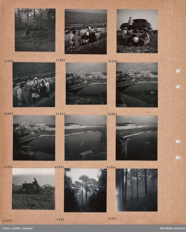 Motiv: En kvinna räfsar ihop löv i en stor hög i park, fem kvinnor sitter med picknickkorg på stenig strand, i vattenbrynet sitter skarvar, en man står vid en parkerad bil och tittar på kvinnorna, industriområde, kalkbrott(?), en man kör en traktor med redskap på åker, barrskog.