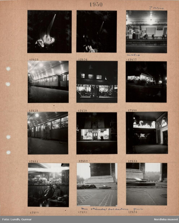 Motiv: Paris, teatersalong, scen med uppträdande, strålkastarljus, métron, tunnelbaneperrong, väntande sitter på bänkar, en man och en kvinna kramas, tunnelbanevagnar vid perrongen, kafé med uteservering, gäster vid bord, markis, kväll, tunnelbanevagn vid perrong, ett par tittar in i ett upplyst skyltfönster, entré med neonskyltar, kabarén Lido, en kvinna sitter med armen om en man på ett kafé, kransar och eldslåga i marken vid Den okände soldatens grav.
