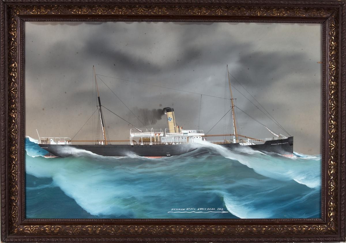 Skipsportrett av DS HERMAN WEDEL JARLSBERG under fart i åpne sjø.