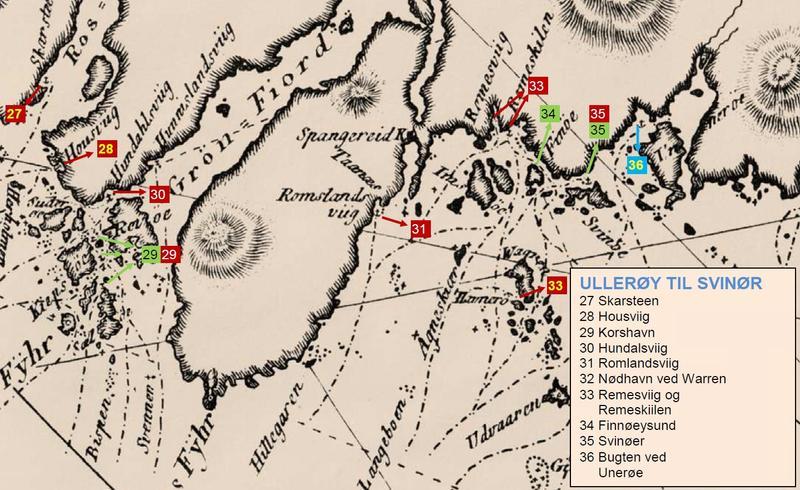 Utsnitt fra Paul Løwenørns sjøkart nr. 5 over den norske kyst fra ca. 1800, hvor man kan se havnen Svinør avmerket (nr. 35), samt de viktigste seilingsrutene i området.