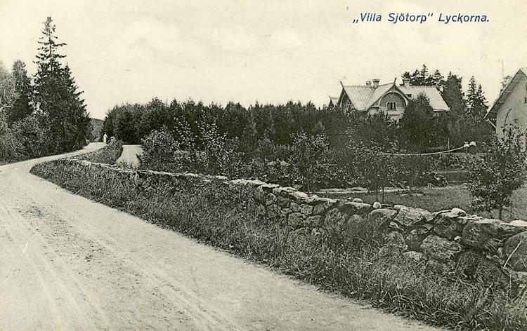 """Enligt Bengt Lundins noteringar: """"Villa Sjötorp. Bakom stengärdsgård""""."""