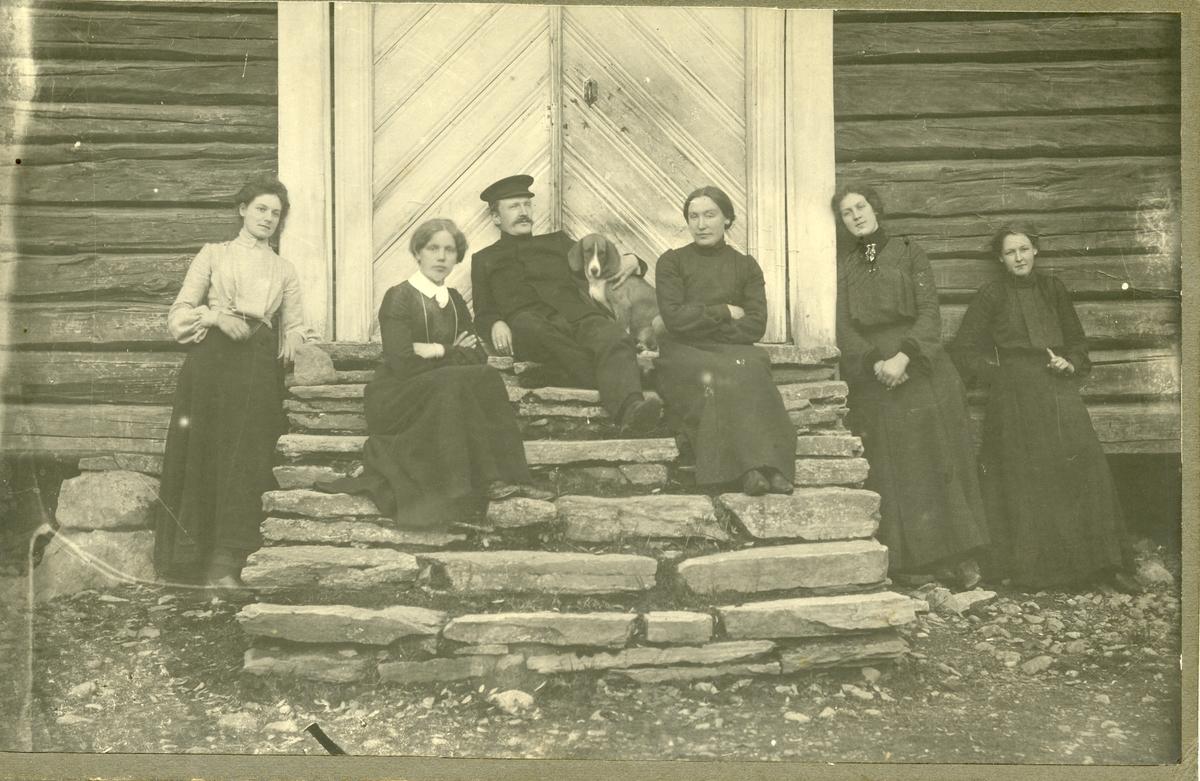 5 kvinner, en mann og en hund sitter på og står rundt ei trapp.