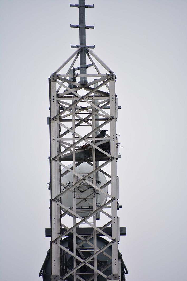"""Kautokeino jernmast for radiolinjer. Masta representerer en type """"Eiffeltårnmast"""", det vil si selvbærende uten bardunering, noe som forklarer at den kan stå midt i bebyggelsen i Kautokeino."""