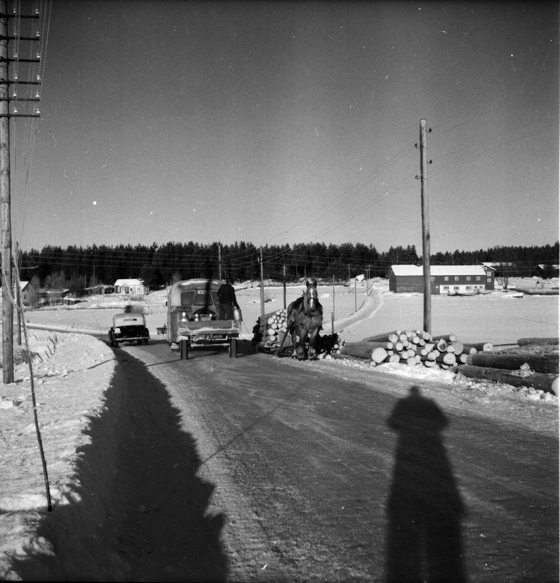 Timmerkörning på landsvägen i Iste. Nygården i bakgrunden.