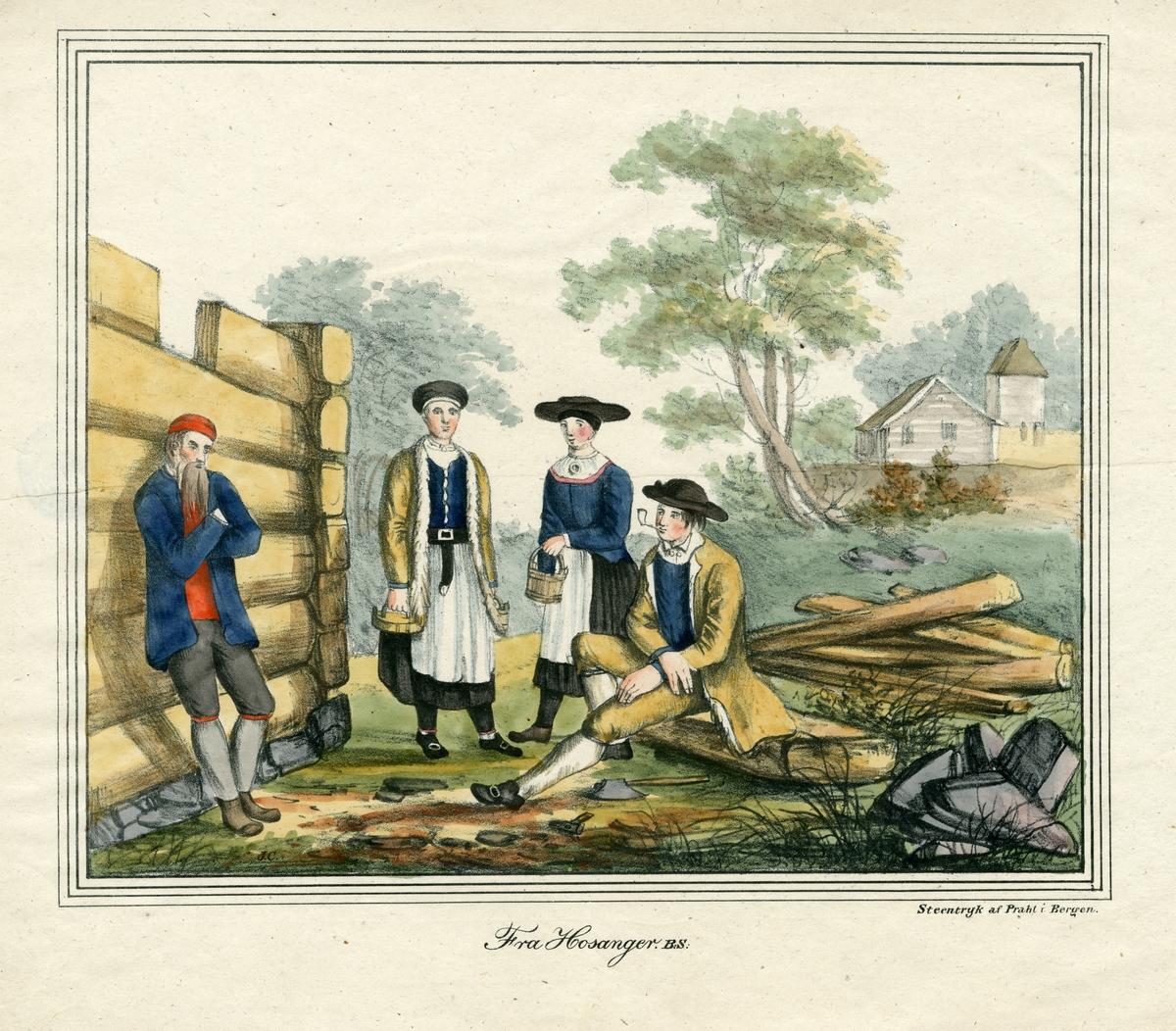 Kvinner og menn i nasjonaldrakter fra Hosange, Osterøy på byggeplass; stue av laftet tømmer under oppføring til venstre.