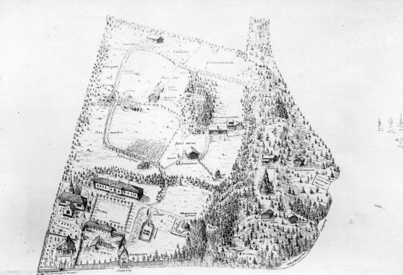 Museumsområdet ca. 1900. «Torvet» nederst til venstre. Rundt «Torvet»: «Vagtgangen», «Depotet», «Kirken» og «Ridehuset».