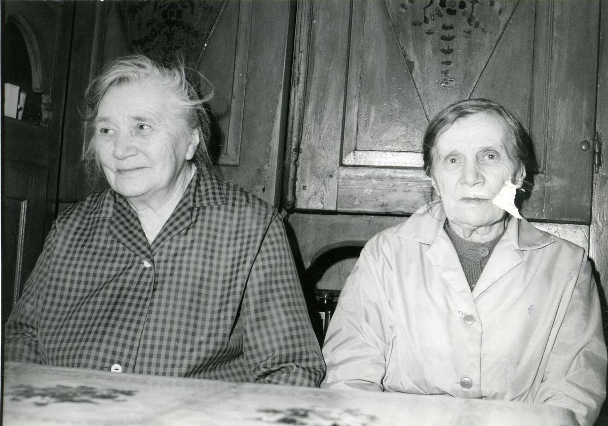 Kari og Jørgine Vestgrøv sitter ved et spisebord. De har et gammelt framskap bak seg.
