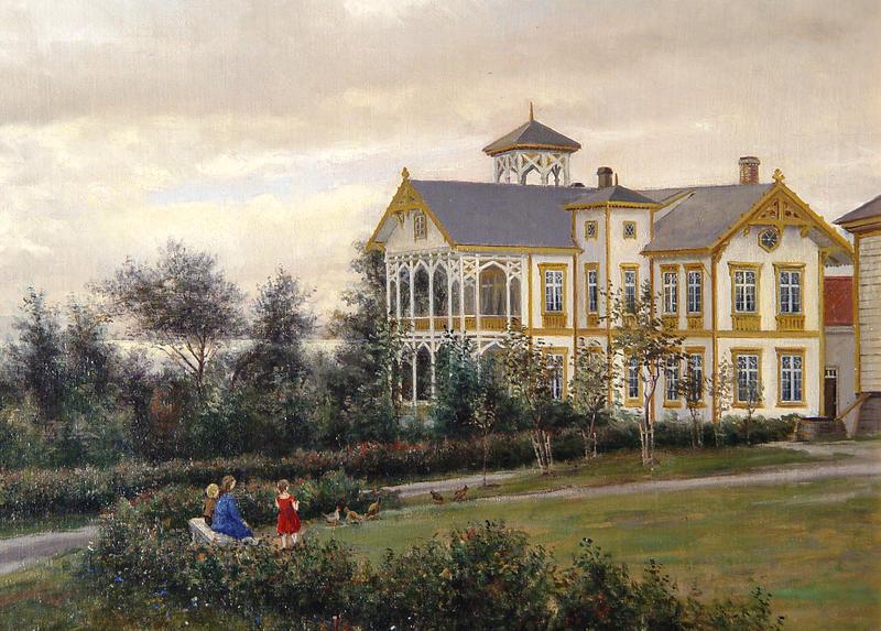 Maleri av hovedbygningen etter Herman Wedel Anker, ca. 1880. Wedel Anker var søskenbarn til Barbara Bachke. Foto: Ringve Musikkmuseum