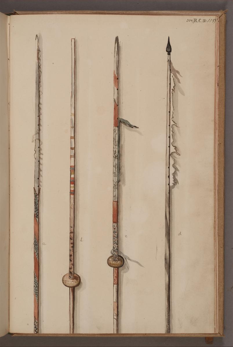 Avbildning i gouache föreställande fanstänger tagna som troféer av svenska armén. De två stängerna längst till höger i bild finns bevarade i Armémuseums samling, för mer information, se relaterade objekt.