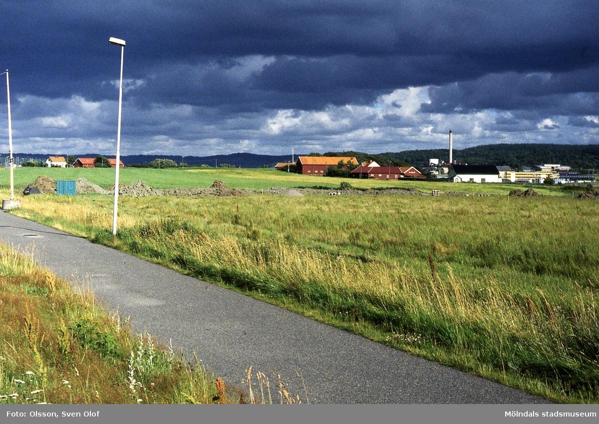 Gårdar i Fässberg, Mölndal, i juli 1999. Från vänster: Östergården 3, Mellangården 1 och 2 samt avstyckning Mellangården 1.