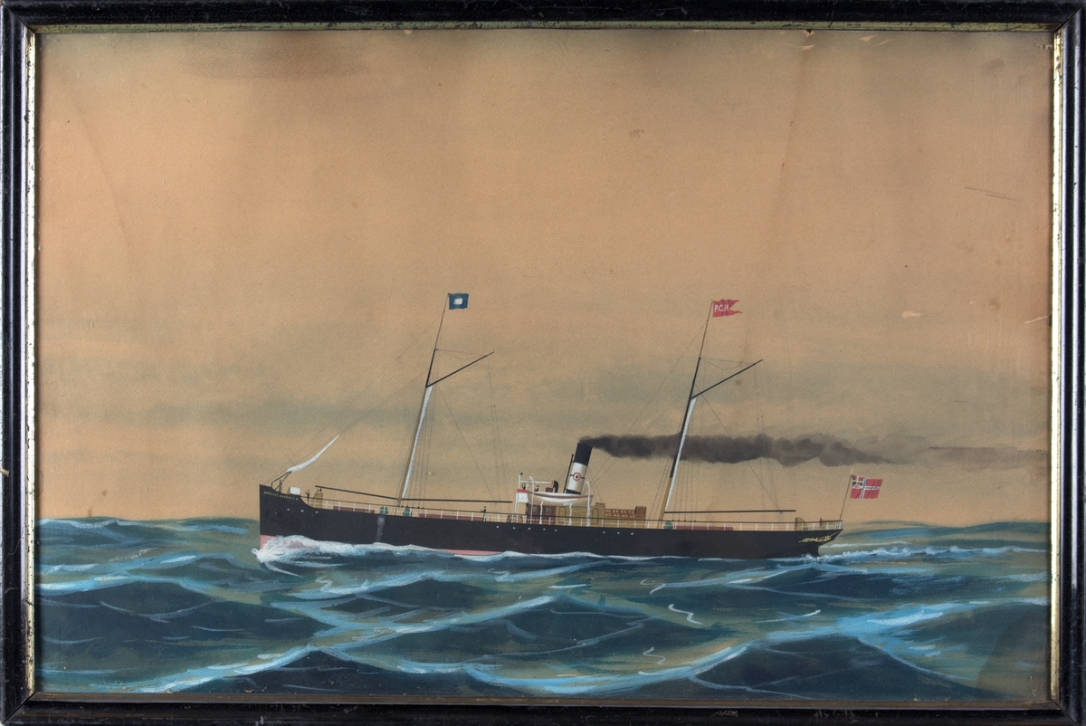 Skipsportrett av DS BANKCHEF HENRIKSEN på åpent hav.