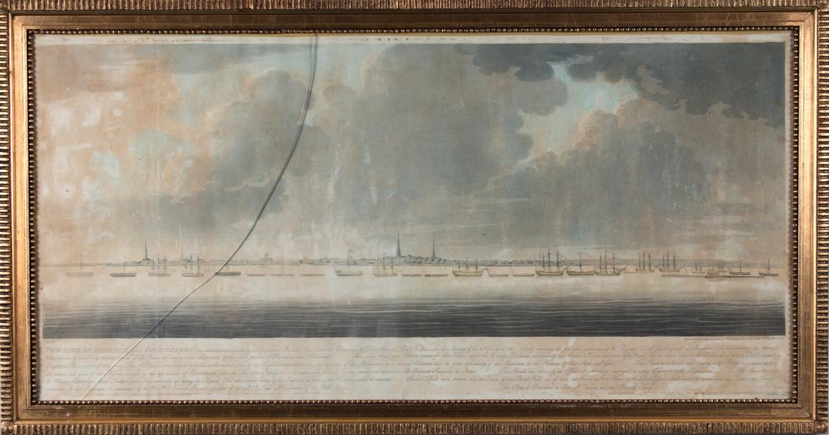 Danske orlogsskip i forsvarslinje foran Københavns red i 1801, sett fra sjøen.