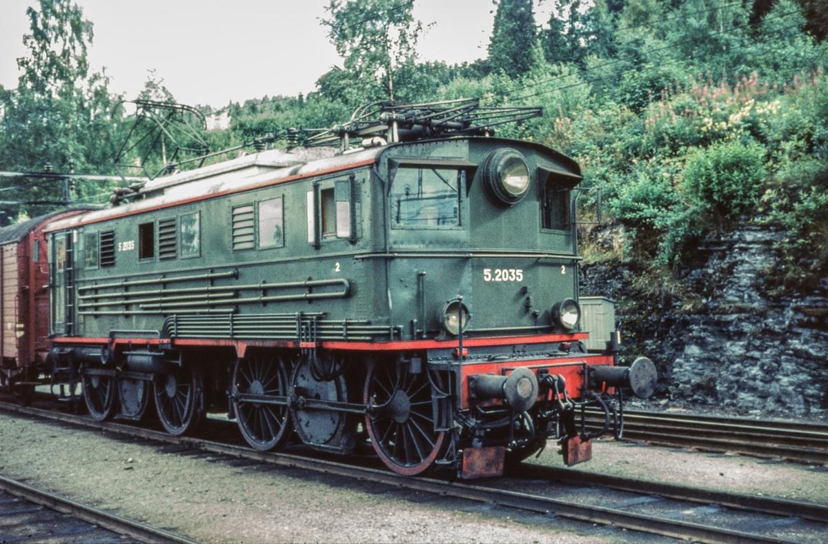 Godstog til Gjøvikbanen fra Oslo på Roa stasjon. Toget trekkes av elektrisk lokomotiv type El 5 nr. 2035.