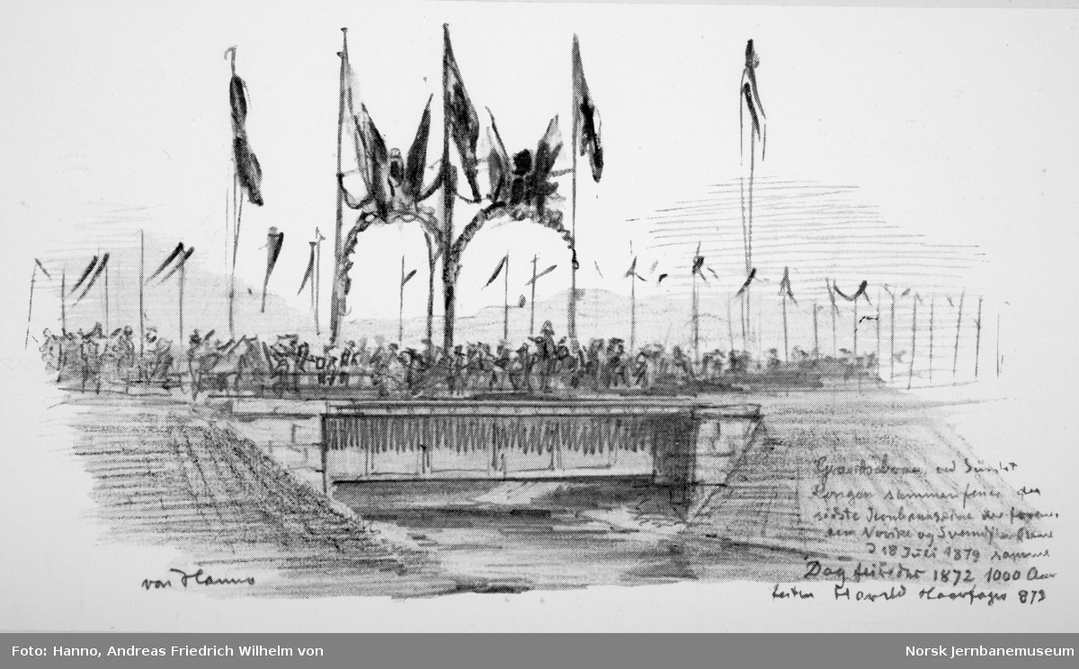 Åpningen av Østfoldbanen Halden-Kornsjø og Dalsland Jernväg - tegninger av von Hanno - høytideligheten ved riksgrensen