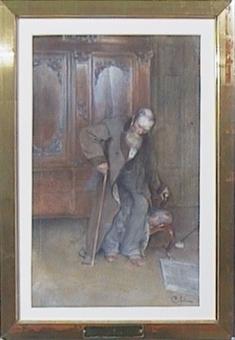 Akvarellmålning på papper monterad i guldram.