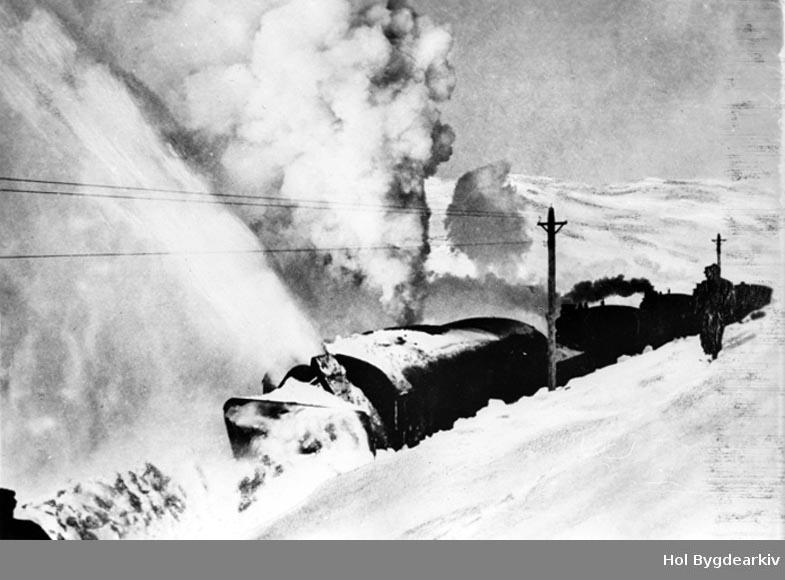 Bergensbanen, snøfresing, roterande snøplog, dampfres, postkort, Hardangervidda, jernbane, NSB