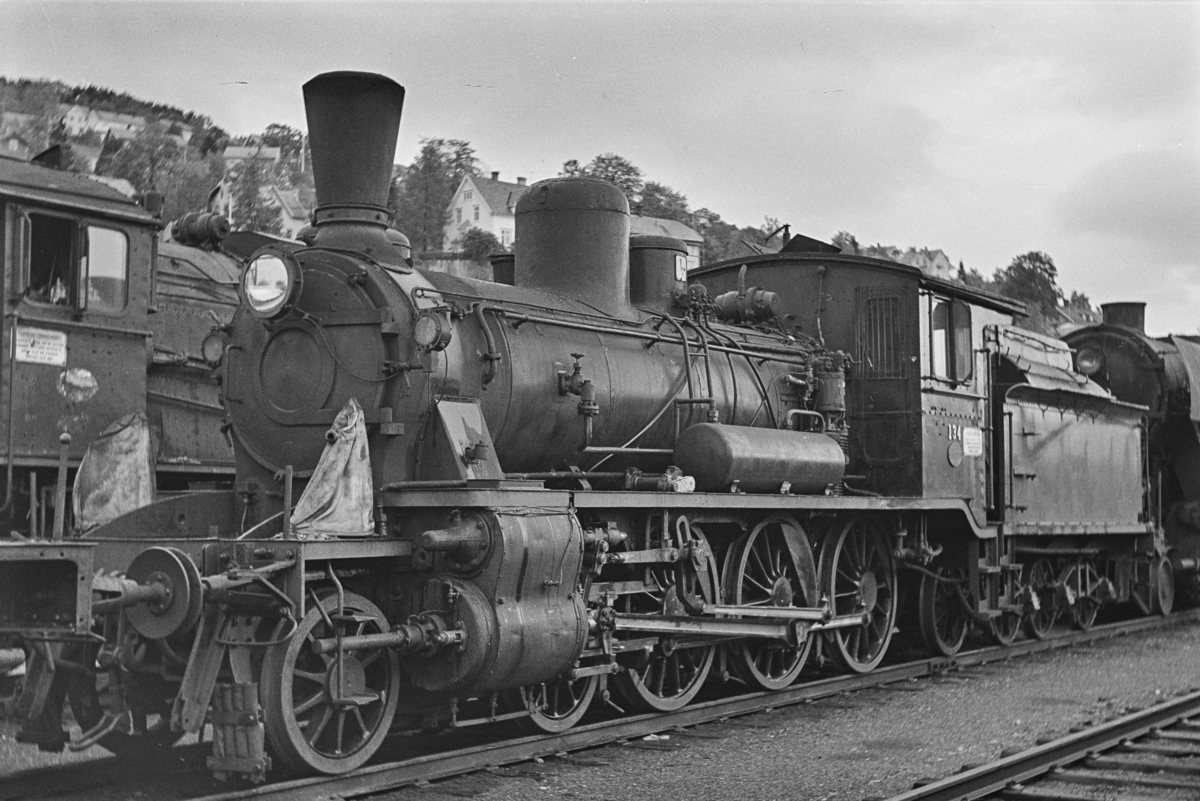 Damplokomotiv type 18c nr. 134 på Marienborg ved Trondheim.