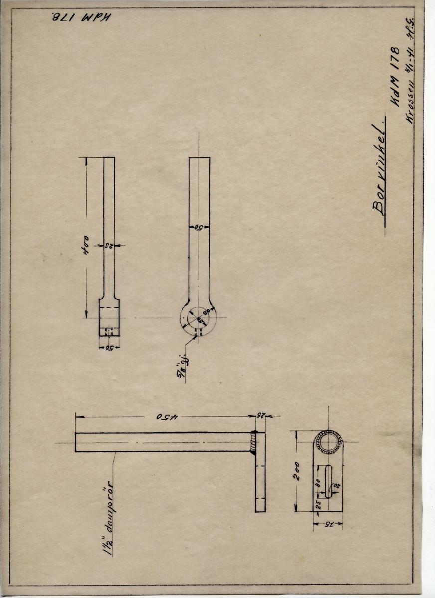 Håndtegnet arbeidstegning til borvinkel, utarbeidet ved Krossen i 1940. Opprinnelig tegningsnummer er KdM 178.