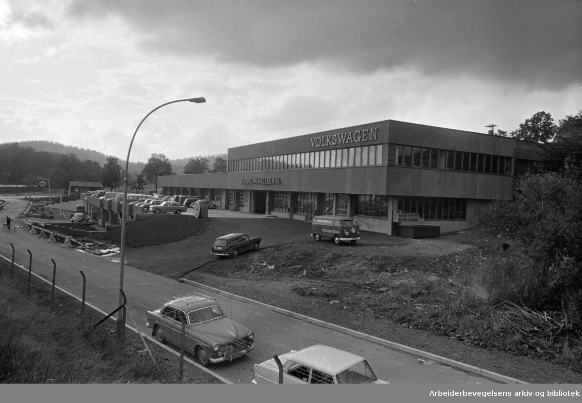 Rødtvet. Volkswagen-senter Nord. Brødrene Mikkelsens bilverksted. September 1967