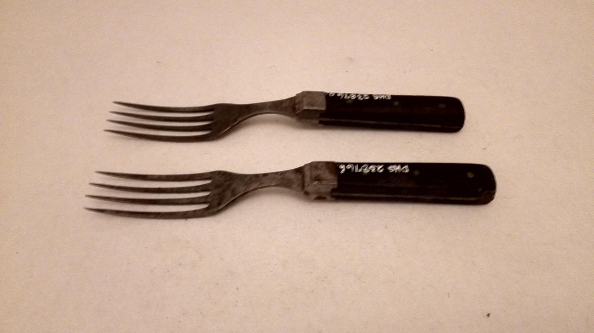 Form: Rektangulært forma skaft. 4 tindar på gaffelen.Tange i heile skaftlengda festa ved hjelp av 3 gjennomgåande naglar. Svartmåla skaft. Lange gaffeltindar.
