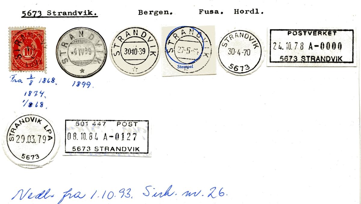 Stempelkatalog 5673 Strandvik, Bergen, Fusa, Hordaland