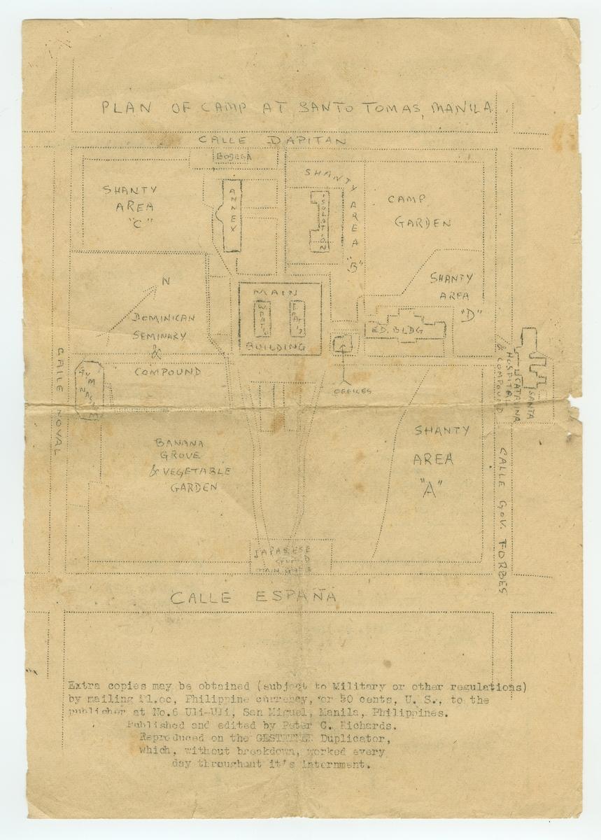 Avis, stensilert. Inneholder stoff fra fangeleiren i Manila, bl.a. kart over leirområdet. Forsiden er tegnet for hånd, det meste er ellers på skrivemaskin.