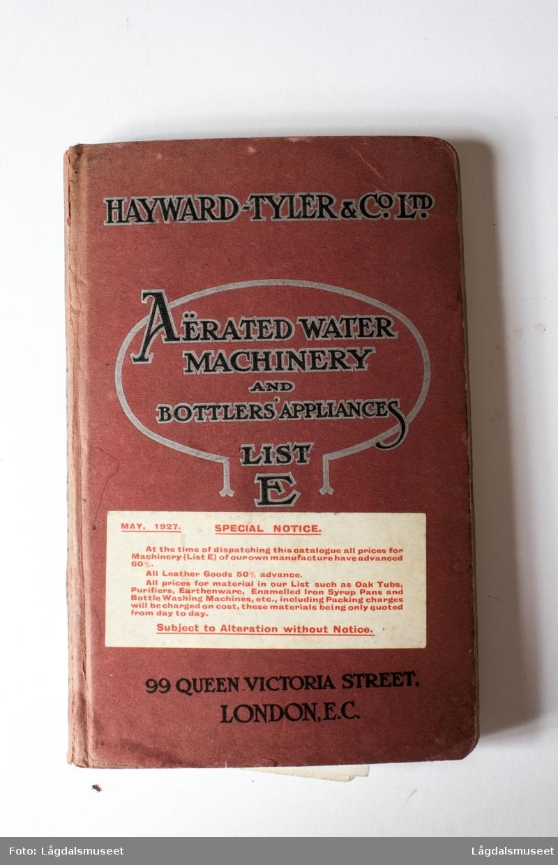 """""""Aërated water machinery and bottlers appliance list E"""" Brukermanual til korkemaskinen."""