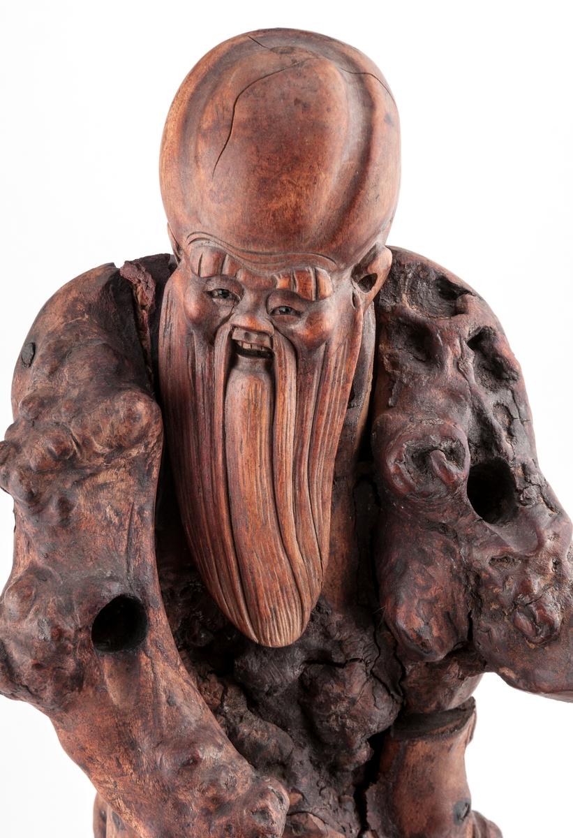 Sjömanskruiosa, kinesisk skulptur av trä.