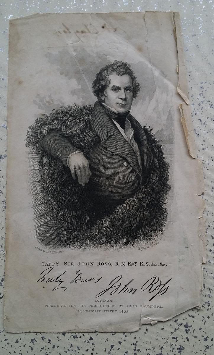 Kobberstikk, repro. Sir John Ross. Sign: Truly Yours John Rofs. Fillete kanter. Inne i RA.0319.B.