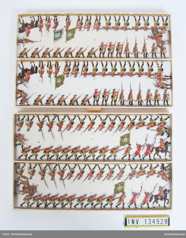 Infanteri från Sachsen från sjuåriga kriget. Två lådor med figurer. Fabriksmålade.