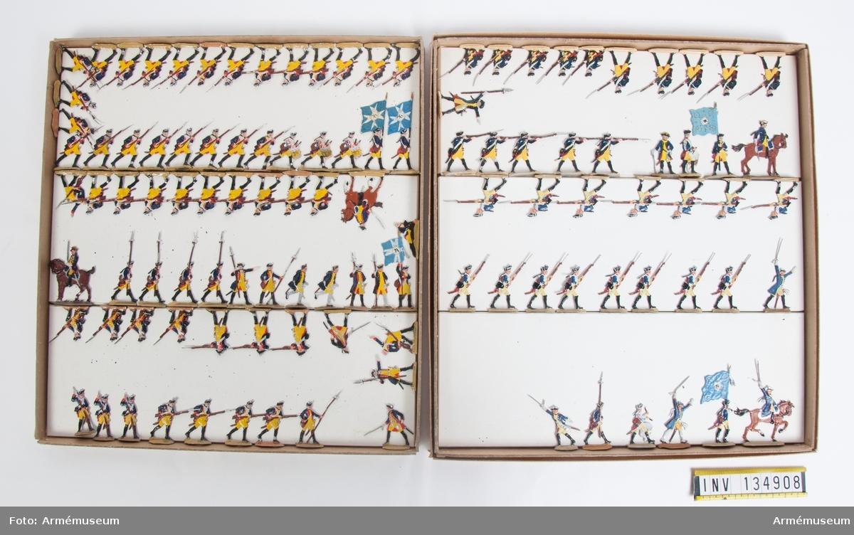Infanteri från Preussen från sjuåriga kriget. Två lådor med infanteri i strid. Fabriksmålade.