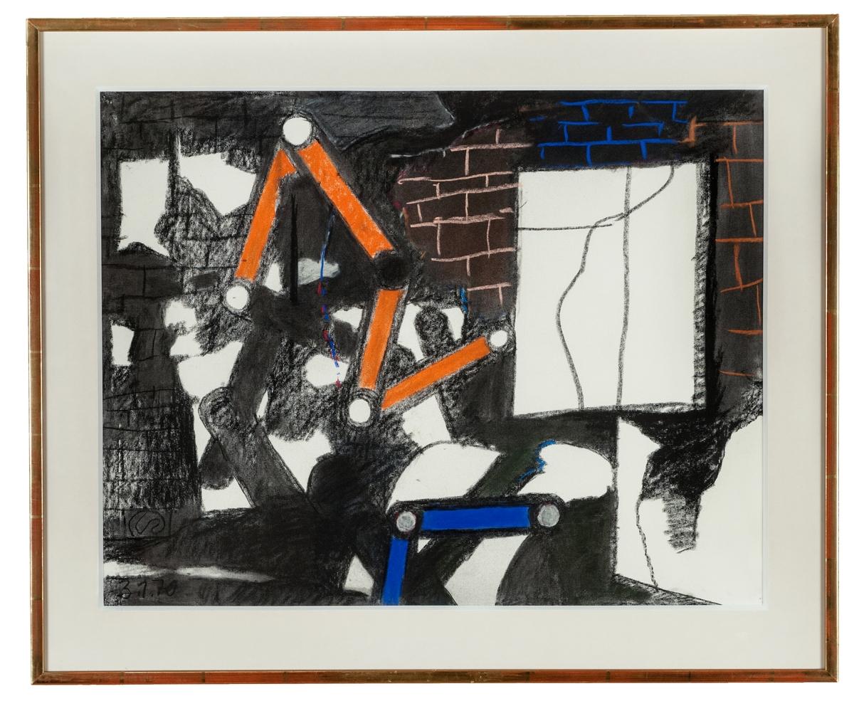 """Pastell på papper av Lennart Rodhe, """"Framför muren"""" 3/1-70. En mur med vit lucka och en vit skärm. I bildens mittparti ses två av konstnärens tumstocksliknande människofigurer, den övre i orange, den undre i blått. Montering/Ram: Förgylld trälist, originalram"""