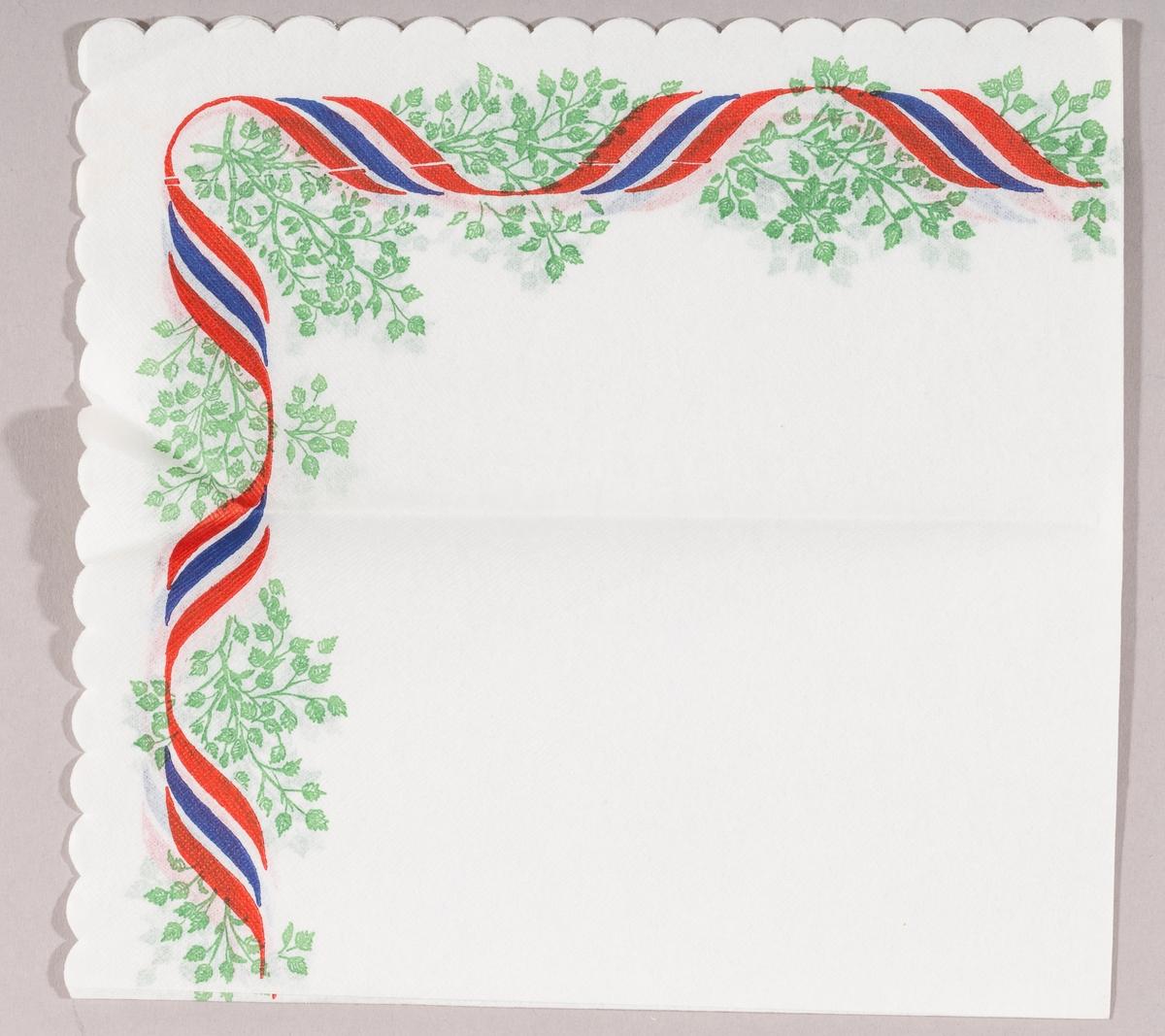 Et slynget bånd i rødt, hvitt og blått. Grønne blader.