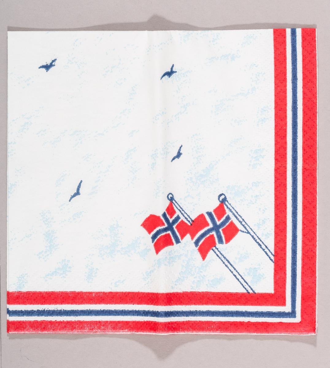 To flaggstenger med norske flagg som flagrer i vinden. Himmel med fugler. Kant i rødt, hvitt og blått.