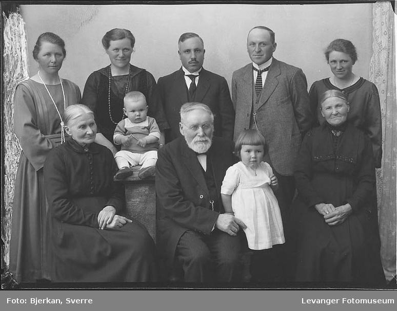 Gruppebilde av en familie en av dem heter Henning fornavn ukjent