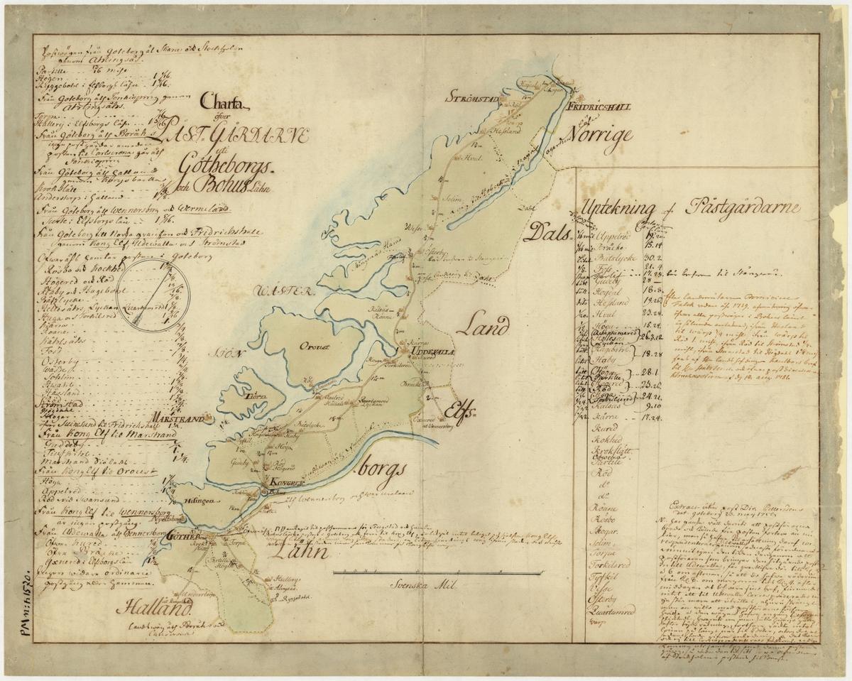 Postkarta över postgårdarna i Göteborgs och Bohus län under 1700-talets mitt. Kartan visar endast Bohuslän, de angränsande områdena anges endast vid sidan om. En förteckning över postgårdar finns i nedre högra hörnet. Kartan är ritad och kolorerad för hand. På kartan finns anteckningar om postföring.