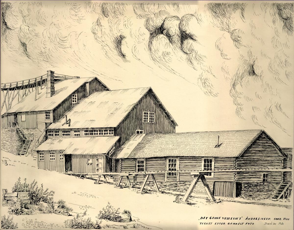 Bygningar ved Åmdals-Verk Gruver ca 1900.