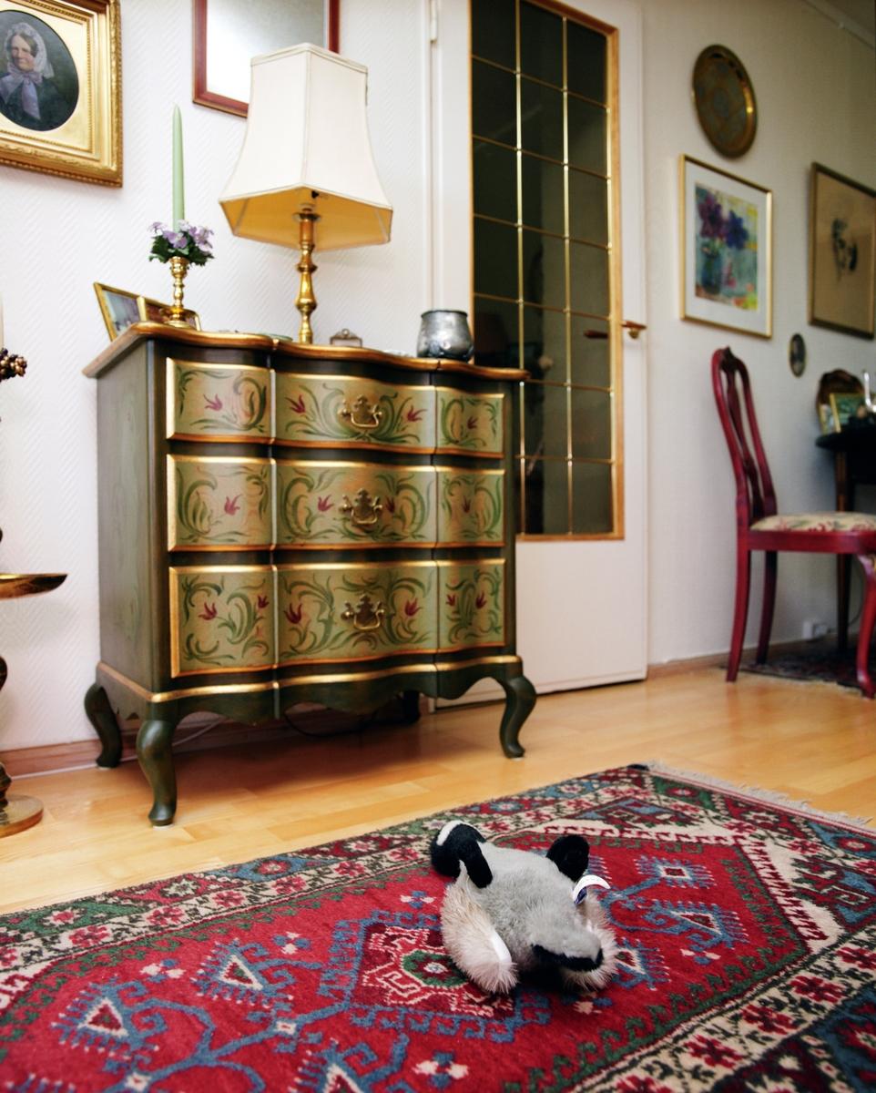 Hjemme hos hunden Chico. En hundeleke ligger i stuen.