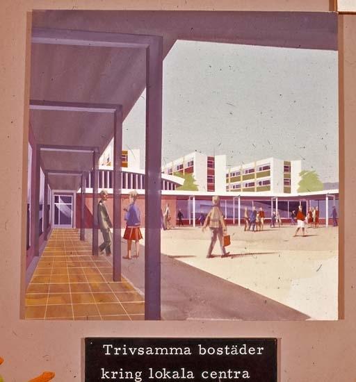Skiss över Stenungsunds centrum. Trivsamma bostäder.