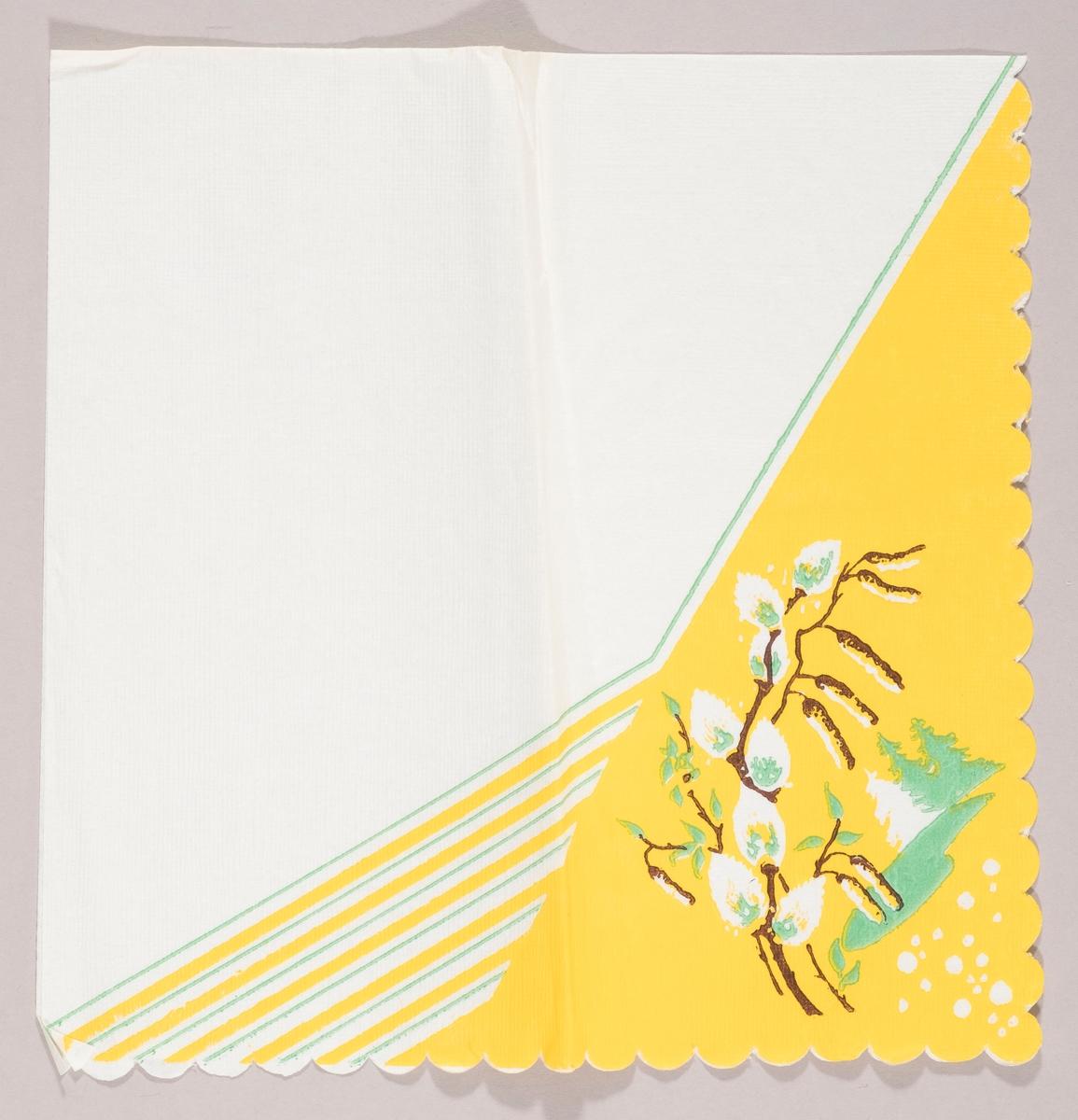 """Grener med """"gåsunger"""" og rakler. Et landskap med grønne og hvite granntrær. Grønne og hvite mønstestriper på gul bakgrunn."""